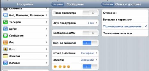 Как на Iphone включить отчет о доставке смс? - фото