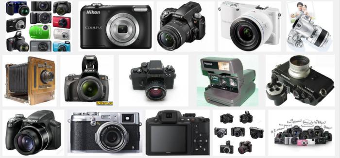 множество фотоаппаратов
