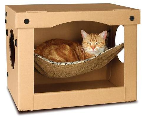 Как сделать домик для кошки из коробки? фото