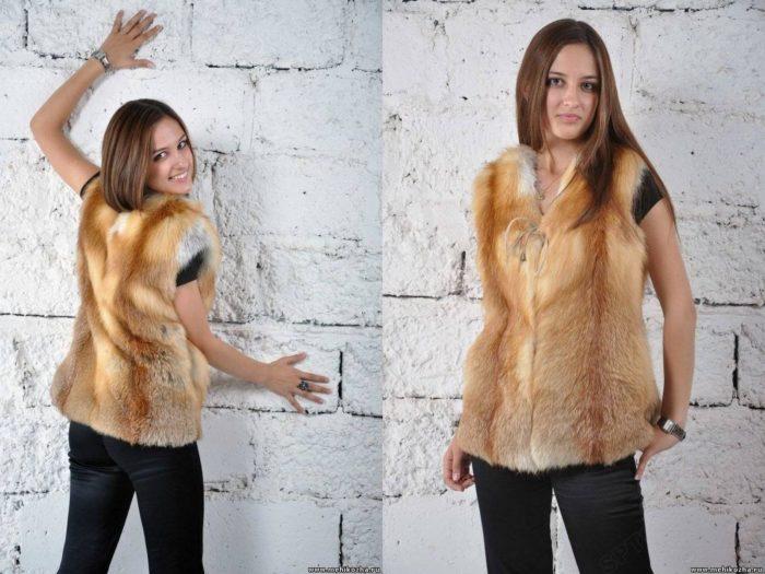 Как правильно носить жилетку из меха лисы? фото