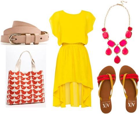 Какие аксессуары подойдут к желтому платью? - фото