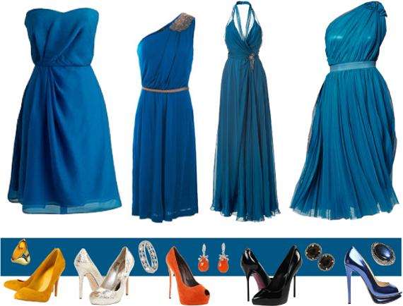 Какие аксессуары подойдут к темно синему платью? фото