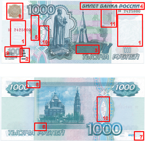 Как отличить подделку 1000 рублей? фото