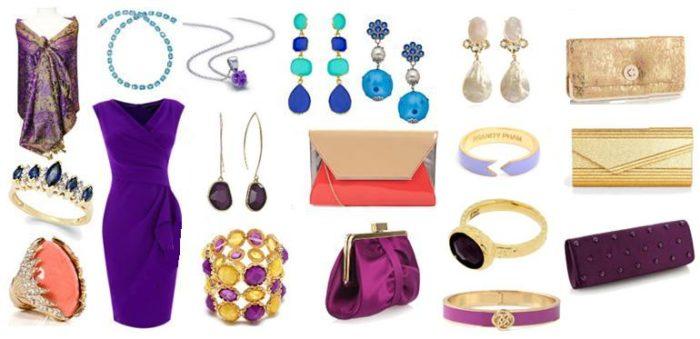 Какие аксессуары подойдут к фиолетовому платью? фото