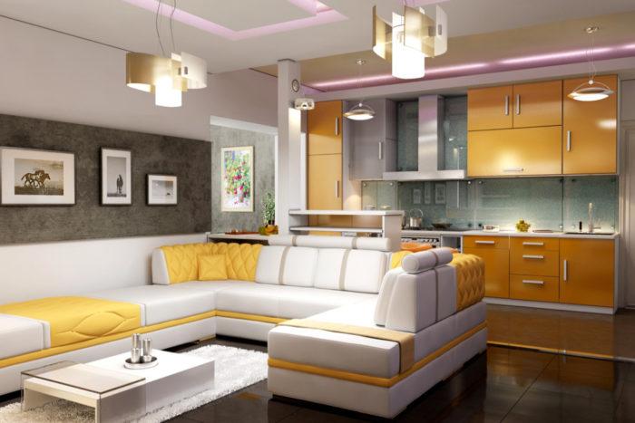 Как разделить комнату на гостиную и кухню? фото