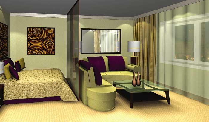 Как разделить большую комнату на спальню и гостиную? - фото
