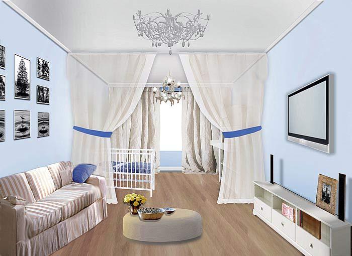 Как разделить комнату на гостиную и детскую? фото