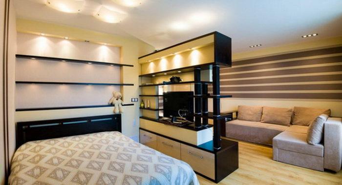 Как разделить комнату мебелью? фото