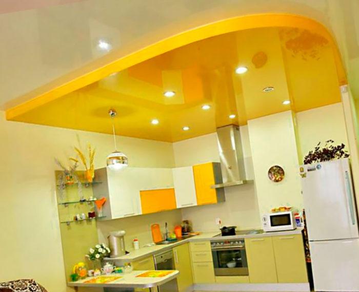 Какие натяжные потолки лучше для кухни? фото