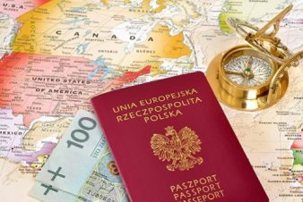 Passport , compass & map