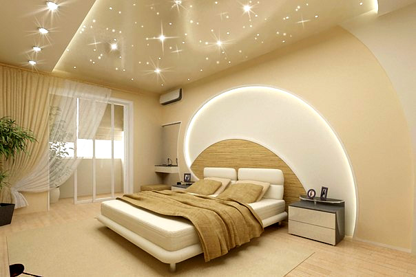 Как выбрать цвет натяжного потолка в спальню? фото