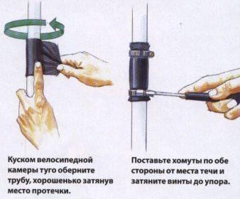 Как устранить течь трубы? фото