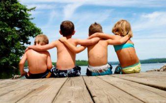 Kids Hanging out at the Sebago Lake, Maine