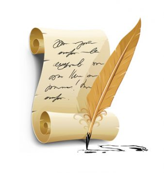 old writing script with ink feather tool